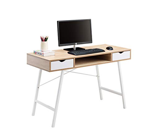 JJS Home Office Writing Desk with Drawers, Modern Computer Study Wooden Desk Table Laptop PC Workstation with Storage, Mid Century White Oak