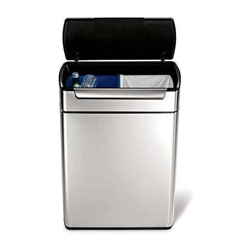 simplehuman 48 Liter / 12.7 Gallon Touch-Bar Dual Compartment Kitchen Recycling Trash Can, Brushed...
