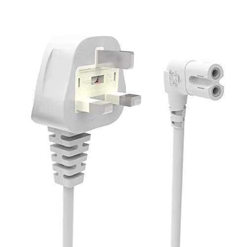 3M Netzkabel Netzkabel, 3-Poliger Stecker, Abgewinkelt 90 Grad Iec C7 Abbildung 8 Kabel für Samsung Philips Toshiba Lg Sharp Panasonic Led-Flachbildfernseher Sky Box, Sky Plus + Hd Box