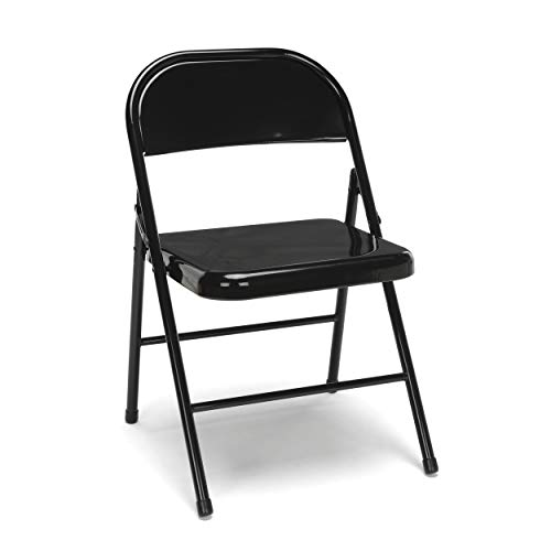 OFM Essentials Collection Multipurpose Metal Folding Chair, Pack of 4, in Black