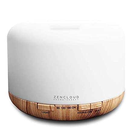 ZENCLOUD Aromatherapy Premium Model 500ml Essential Oil Diffuser and Humidifier, 2020 Model, 7 LED Colour Lights, Safe for Sleeping with Auto Cut-Off, Ultrasonic Spa Quality