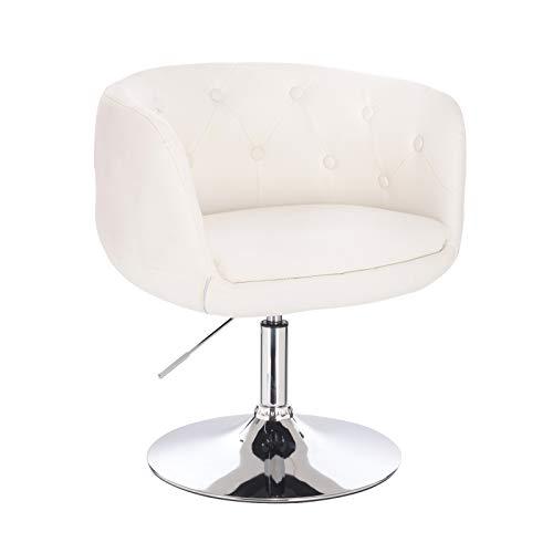 SVITA Panama Retro Loungestuhl Polsterstuhl Cocktailsessel Weiß Kunstleder Tellerfuß