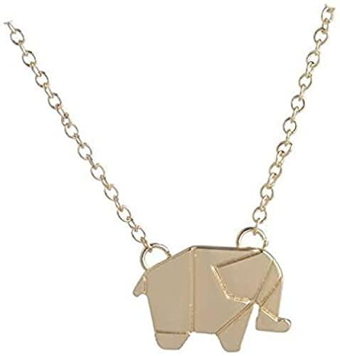 LKLFC Collar Mujer Collar Hombre Colgante Origami Elefante Geométrico Origami Animal Elefante Animal Elefante Bosque Bosque Joyería Collar Regalo para Hombres Mujeres Niñas Niños