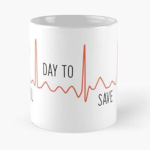 It's a Beautiful Day to Save Lives – Grey's Quote – Taza de café de cerámica de mármol blanco de 11 oz