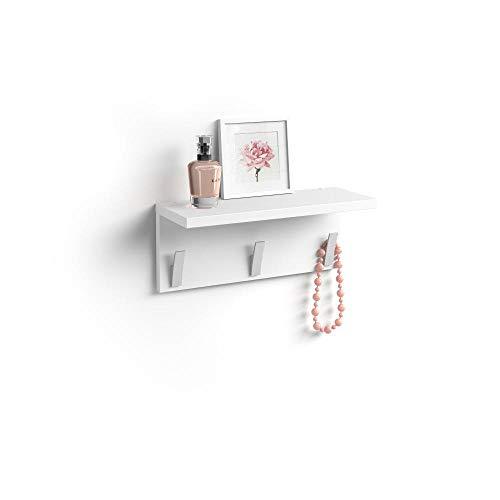 Mobili Fiver, Appendiabiti da Parete, Rachele, da 40 cm, Bianco Opaco, Nobilitato/Alluminio, Made in Italy, Disponibile in Vari Colori