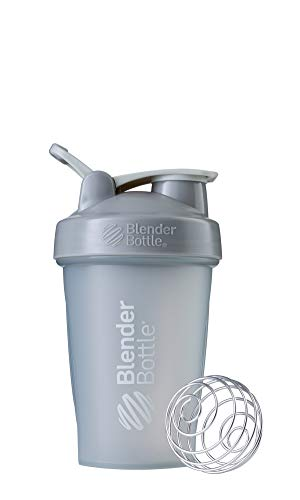 BlenderBottle Classic Shaker Bottle Perfect for Protein Shakes and Pre Workout, 20-Ounce, Pebble Grey