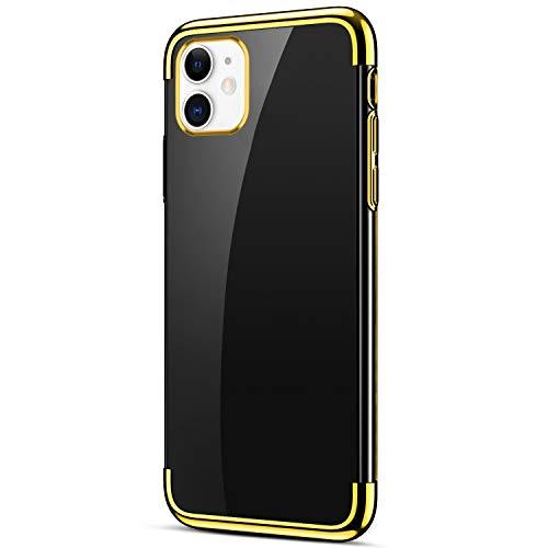 Uposao Compatible avec Coque iPhone 11 Transparent Cristal Clair Silicone Gel Coque de téléphone + Glitter Placage Métal Coque Ultra Mince Souple Flexible Bumper Case Housse Etui,D'or