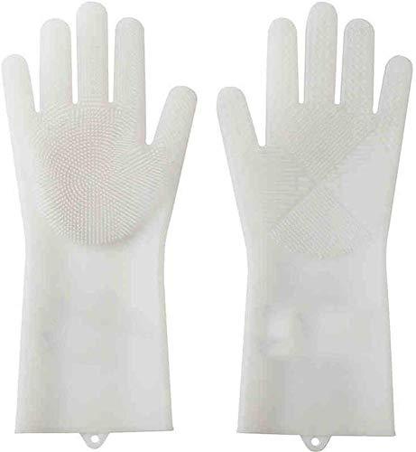 Geschirrspül-Handschuhe, Silikonmaterial Samtverdickung Wärme wasserdichte Wäsche Geschirr Hausarbeit Gummihandschuhen