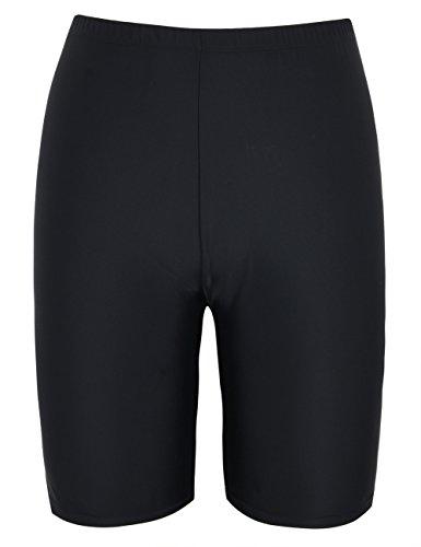 Hilor Women's UV Long Bike Shorts Rash Guard Boy Leg Swim Bottom Active Sport Pants Black 12