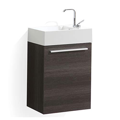 18 Inch Dark Oak Small Bathroom Vanity with Sink, Narrow Bathroom Vanity