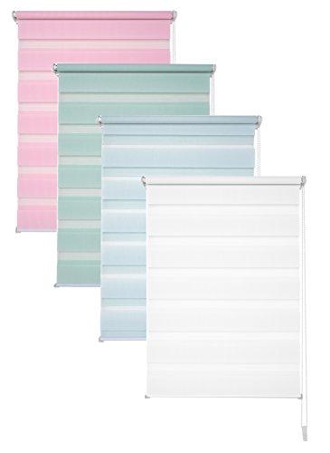 Garduna Doppelrollo - 100 x 150 cm Pastell Rosa - Duo-Fenster-Rollo mit Klemmträger/Klemmfix ohne Bohren