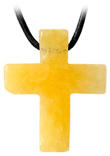 Kaltner Präsente Leren ketting voor dames en heren, met kruis hanger van edelsteen oranje calciet oranje (30 x 25 x 7 mm)