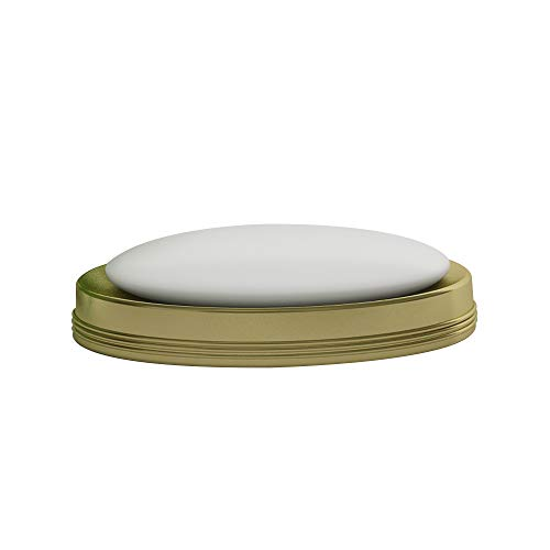 nu steel Nusteel Jewel Decorative Stainless Steel Dish Tray for Bathroom Vanities, Countertops, Pedestals, Kitchen Sink-Store Hand Soap, Pumice Bars, Sponges, Scrubbers, Rich Gold Finish