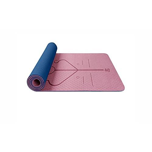 WLBH Estera de Yoga, Estera de Yoga Antideslizante TPE con líneas de alineación, Estera de Ejercicios de Fitness ecológicos de 6 mm de Espesor Yoga, Pilates blue-183 * 61 * 0.6