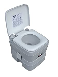 Self-contained portable toilet for camp site, boat, RV, or other recreation Sturdy full-size seat/lid; lushes like residential toilet; matte finish conceals scratches 3.2-gallon freshwater holding tank and 5-gallon waste-water holding tank One-piece,...