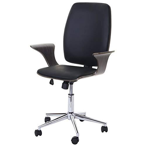 Chaise de Bureau HWC-C54, Bois courbé, Chaise pivotante, Similicuir - Design Bois de Noyer, Tissu Noir