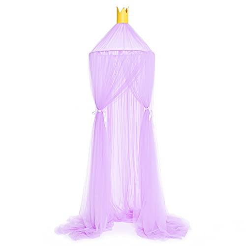 LTLJX Bed Canopy for Girls Play Tents Princess Dreamy Canopies Nursery Mosquito Bed Net Perfect Decoration Gift for Kids Baby Bedroom,Purple