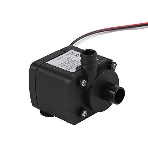Hakeeta DC-Wasserpumpe 12 V, Miniatur, für PC-Computer, Sicherheit und Stromschlag, Energieeffizient, geräuschlos, Wasserkühlsysteme, 300 l/h Durchfluss, 1800 Umdrehungen/Minute, schwarz