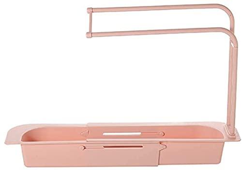 Cesta de desagüe telescópica, para colgar en el hogar, ampliable, adecuada para cocina y baño, escurrir y ventilar (rosa)