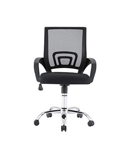 Bürostuhl mit Lendenwirbelstütze, Netzstoff, Drehstuhl mit Armlehnen, Schwarz