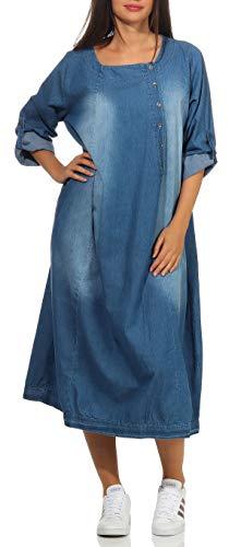 malito dames Jeansjurk | Vrijetijdskleed met knoopsluiting | Maxi jurk met 3/4 mouwen 9962