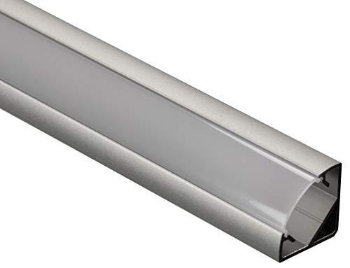 Gedotec Winkelprofil Aluminium-Profile LED Eckprofil 2500 mm Profilleisten für LED-Streifen | Licht-Schiene Alu silber matt | Streuscheibe milchig transparent | 1 Stück - LED-Profile mit Endkappen