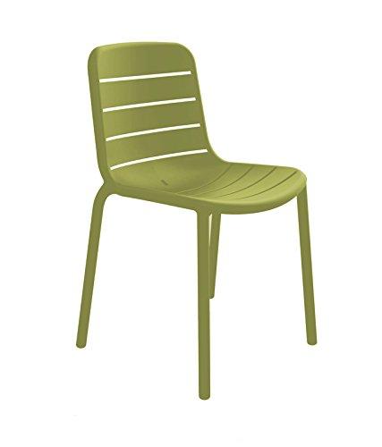 resol grupo Gina Set de 2 sillas de diseño para interior, exterior, jardín, Verde Oliva, 52 x 52,3 x 80,5 cm