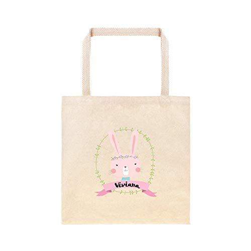 Corona de conejo de Pascua con banderín, bolsa personalizada para caza de huevos, regalo personalizado, cesta de Pascua