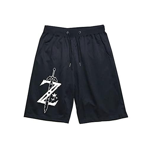 Kvghtt Activewear-Shorts Kurze Hose Hosen Herren The Legend of Zelda Mann Sport Kurz Sommer Stretch Baumwolle Fitness Short Pants Schwarz L