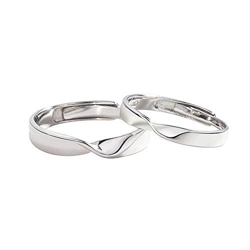 YOLANDE Mobius-ring, 925 sterling zilver, trouwringen, verlovingsringen, partnerringen, opening, simpel band, ringen, instelbare ringen