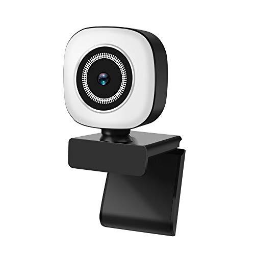 Reuuy® Webcam con microfono e anello luce 2K HD Face Webcam con treppiede e copertura privacy Plug and Play Camera per computer portatile Mac Windows Gaming Xbox Skype