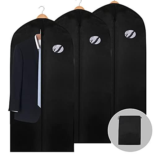 EINFEBEN 3 Stück Kleidersack Anzug 128 x 60cm inkl. Schuhbeutel Anzugtasche Kleidersäcke Kleiderhülle Anzugsack Abendkleid Brautkleid Mäntel Hemden Mottenschutz Wasserdicht