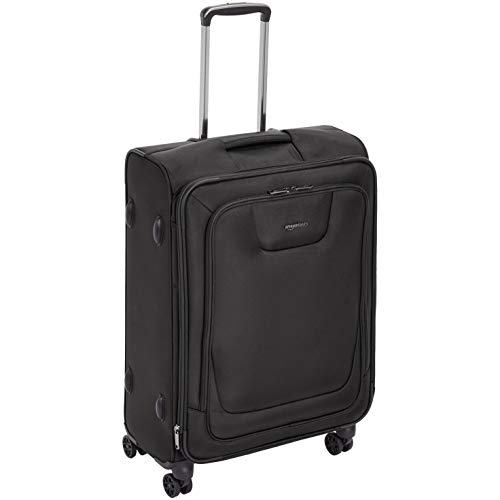 AmazonBasics Expandable Softside Spinner Luggage Suitcase With TSA Lock And Wheels - 25 Inch, Black
