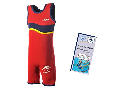 Lampiphant® + Konfidence Warma Wetsuit, Kinder-Badeanzug aus Neopren mit Plitsch-Platsch-Fibel, Rot/Navy, Größe 6-7 Jahre