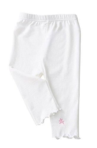 Plus Nao(プラスナオ) 子供用 スパッツ 5分丈 レギンス タイツ ウエストゴム シンプル ワンポイント カラースパッツ 刺繍 裾フリル 動きや 120 ホワイト