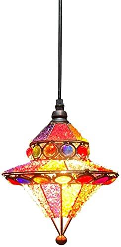 XXSHN Candelabro Tiffany marroquí Bohemia Turco Lámpara Colgante Pantalla de Cristal Multicolor Sala de Estar Dormitorio Comedor Cocina Decoración Lámpara E27