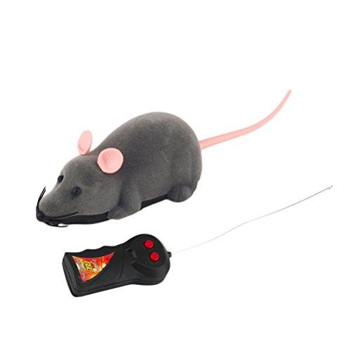 TOYMYTOY Spielzeugmäuse Fernbedienung Elektrische Ratte Plüsch Maus Spielzeug für Katzen Hunde Haustiere Kinder (Grau)
