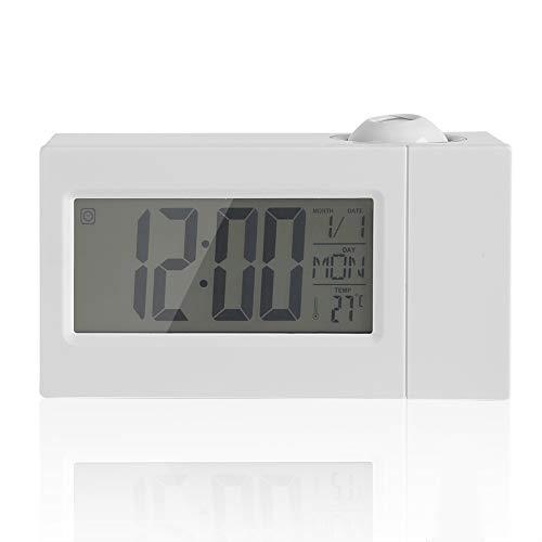 Ladieshow LCD-Display Sound Control Decke Projektion Clock Alarm Snooze Date Temperatur(Weiß)