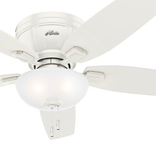 Hunter Fan 52 inch Low Profile Fresh White Ceiling Fan with LED Bowl Light Kit (Renewed)
