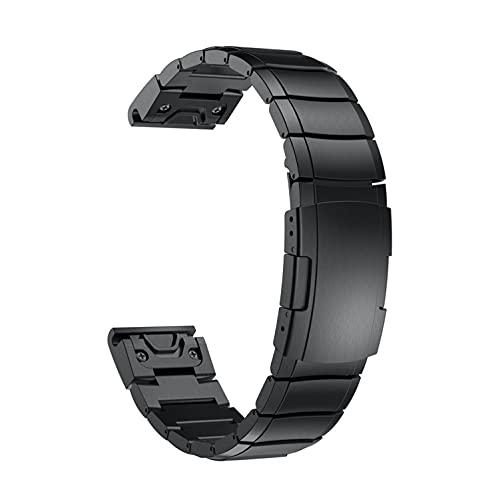 YOOSIDE für Fenix 5/Fenix 6 Armband, 22mm Edelstahl Gliederarmband Ersatzarmbänder Uhrenarmband für Garmin Fenix 5/Fenix 5 Plus/Instinct/Forerunner 935/Approach S60 Smartwatch,Schwarz