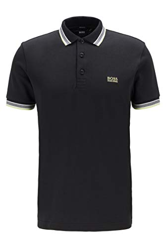 Photo of BOSS Mens Paddy Cotton-piqué Polo Shirt with Contrast undercollar Black