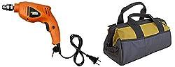 Combo of BLACK+DECKER HD400IN 500-Watt 10mm Hammer Drill & Stanley 93-223 305mm Tools Storage Water Proof Nylon Medium Tool Bag