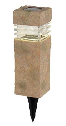 Deck Impressions Solar Sand Stone Outdoor Integrated LED Landscape Rock Pillar Path Light (4-Pack)