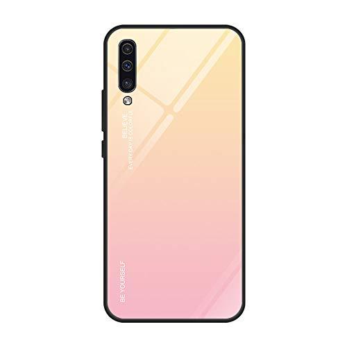 Kompatibel mit Samsung Galaxy A50 Hülle,9H Gehärtetes Glas Back Cover Dünn Spiegel Schutzhülle Mirror Hülle Silikon Bumper Frame Farbverlauf Kratzfest Stoßfest Schutz Handyhülle für Galaxy A50 (A50, 1)