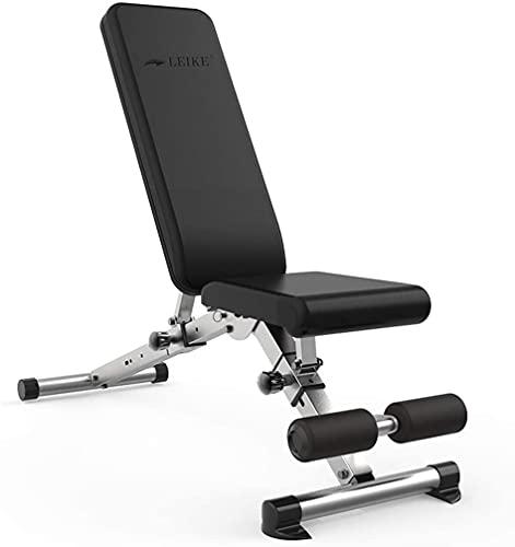 AINH Inicio Fitness Bench Press Plegable Fitness Silla Multifuncional Peso Banco Home Bench Press Ajustable Carga Rodamiento (Color : Black, Size : 132x46x113cm)