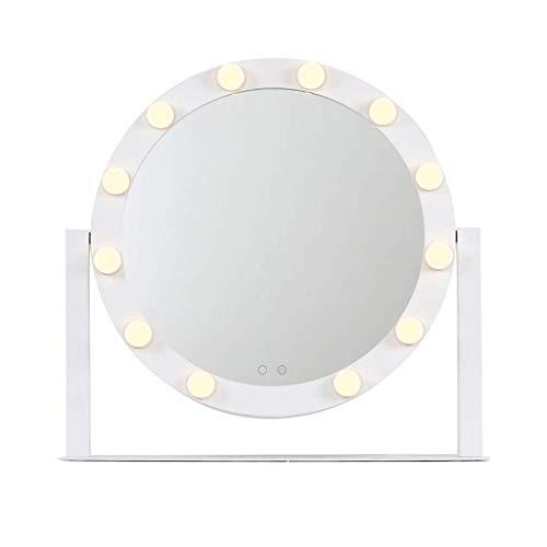 WFY Espejo Redondo Espejo de Escritorio con luz HD Tocador Espejo Dormitorio Maquillaje Ligero Espejo Home Princess Mirror Maquillaje Espejo (Size : S)