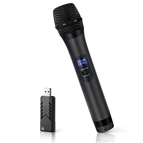 cambiador de voz Profesional UHF MIC Dinámico de mano con USB Salida del receptor a la computadora portátil o ORDENADOR PERSONAL Inalámbrico USB Micrófono para la reunión de enseñanza. altavoz con mic