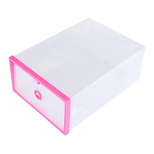 Mikrokos Caja de Almacenamiento de Zapatos - 2 PCS Cajón de plástico Plegable Transparente Caja de Almacenamiento de Zapatos Organizador de Caja apilable(Rosa roja)