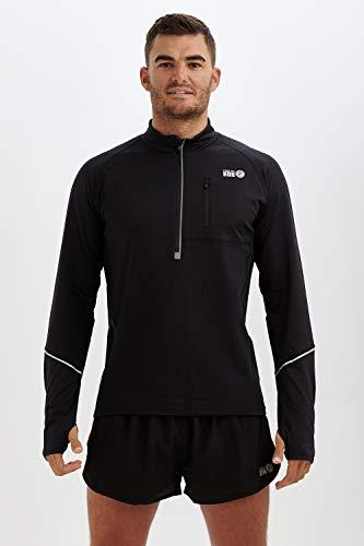 time to run Langarm-Thermoshirt Banff, Quick Dry Funktionsshirt Oberteil für Herren mit Reißverschluss am Ausschnitt Und EIN Tasche L Schwarz