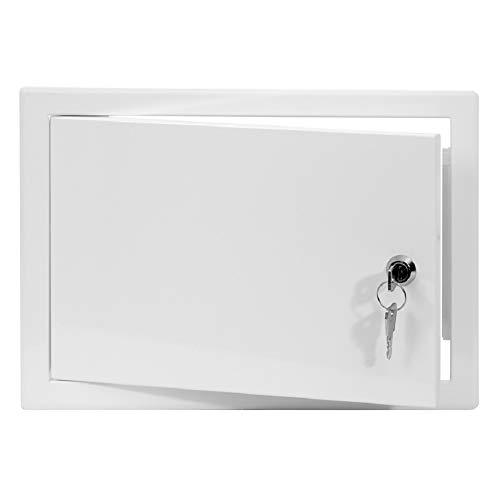 20x30 cm Revisionsklappe Revisionstür Revisionsschacht Weiß Wartungsklappe mit Schloss (200x300 mm)